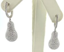 Fine 18K White Gold Raindrop Pear Shape Pave Round Diamond Drop Earrings