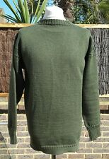 Le Tricoteur Green 100% Wool Guernsey Jumper  Made in Channel Islands - L