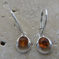 BALTIC AMBER Cognac / Brown, Oval EARRINGS, Leverback, 925 STERLING SILVER #1339