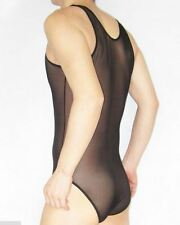 Sexy Black Medium Fine Mesh Transparent Singlet / Bodysuit Underwear Gay UK