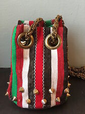 Delphine Delafon Studded Canvas and Leather Bag, Stripes, So French!!! RARE!!!!
