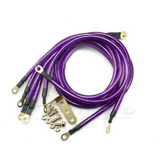 Universal 5 Point Car Grounding Ground Wire Performance Cable System Kit Purple