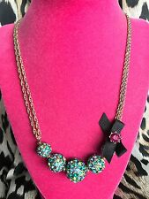 Betsey Johnson Blue Lagoon GORGEOUS Blue Green Teal Crystal Paved Ball Necklace