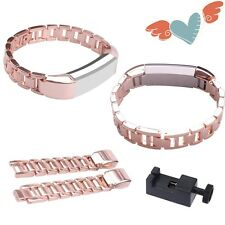 Stainless Steel Rose Gold Metal Wrist Watch Band Bracelet For Fitbit Alta HR