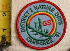 GIRL GUIDES CANADA - DISTRICT 1 NATURE DAYS CAMPOREE 1981 PATCH RARE