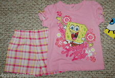 Toddler Girls Shorts & Shirt SPONGE BOB Pink PLaid Glitter 12 mo Nickelodeon