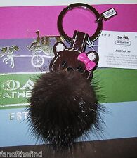 NWT COACH Mink Fur Teddy Bear Key Chain Keychain Fob Charm