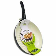 "Non-Stick Grill Pan Frying Skillet 11"" Green Life Healthy Ceramic Pot griddle"