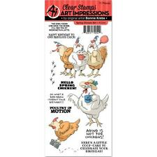 Birthday Chicken Clear Unmounted Rubber Stamp Set ART IMPRESSIONS AICS40 New