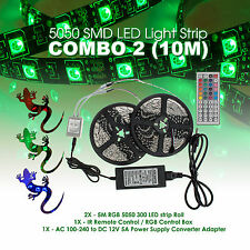 10M 5050SMD RGB 600 LED Strip Light Kit w/ 44 Key Remote 2 Outlet 5A Power Combo