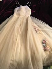 Vintage 1950's Prom Dress Champagne Smoky Tulle XS Spaghetti Straps Debutante