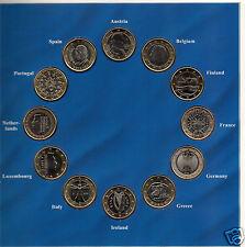 manueduc  CARTERA 2002 con 12 Monedas de 1 Euro 12 Países NUEVAS Plastificadas