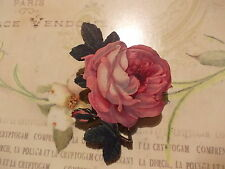 Vintage Rose Lasercut Wooden Brooch