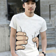 2016 Stylish Men's Funny 3D Big Hand Catch You Printed Short Sleeve Tee T-shirt