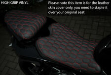 GRIP HEX RED STITCH CUSTOM FITS YAMAHA YZF 600 08-15 R6 FRONT & REAR SEAT COVER