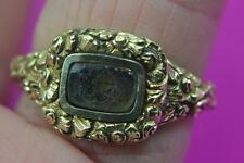 antique 14 ct gold & hair mourning ring inscribed A Johnson July 8 1873 age 75