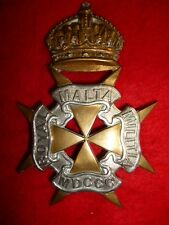 The Royal Malta Militia KC Helmet Plate Badge - British Colonial