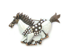 Gorgeous Ab (Aurora Borealis) Crystal Running Horse Pin Brooch G277