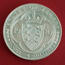 JERSEY 1910 GEORGE V HM SILVER PROOF PATTERN MODEL 4 SHILLINGS (DOUBLE FLORIN )