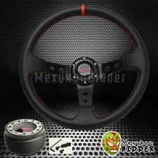 350mm Black Drifting Deep Dish Steering Wheel + Hub Adapter Honda Civic 92-95 EG