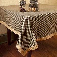 Primitive Country Farmhouse BLACK TAN GINGHAM LACE TABLECLOTH Check Table Cloth