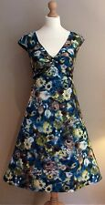 LAURA ASHLEY DRESS SIZE 14 TEAL YELLOW FLORAL