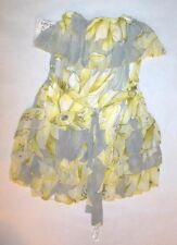 NWT PINK POLKA DOT DRESS FLORAL YELLOW GRAY OFF THE SHOULDER  RUFFLES sz XS