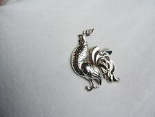ROOSTER Jewelry Vintage Brooch LANG STERLING SILVER Pin Figural (ww359)