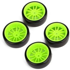 4pcs Green Wheel Rims & Smooth Tires for  RC 1: 10 On-Road Racing Drift Car