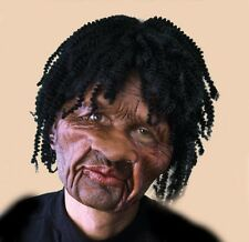 Black Guy Short Dreads Latex Moves with Jaw Adult Man Funny Halloween Mask