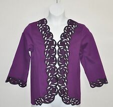 Bob Mackie Embroidered Cut Out Jacket Size 2X Plum