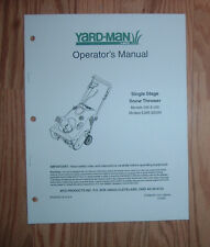 YARD-MAN MTD 285, 295, E285, E295 SNOW THROWER OWNERS MANUAL WITH PARTS LIST
