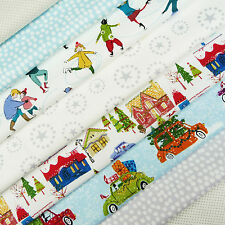 Makower ~ Christmas Wonderland Fabric Scrap Pack / snowflake tree skater house