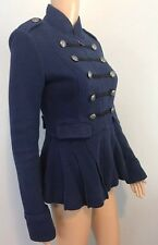 Women's Free People Navy Blue Military Peplum Jacket Sweater SZ XS $250