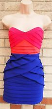 LIPSY PIXIE LOTT BANDAGE PINK PURPLE PEACH RUFFLE TULIP BODYCON PARTY DRESS 10 S