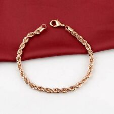 "18K Rose Gold Filled Womens Bracelet 4MM Rope Chain 8.2"" Link GF Costume Jewelry"