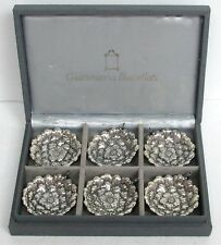 BUCCELLATI STERLING SILVER 6 PLACE MARKER GARDENIA DISHES RETAIL $1050