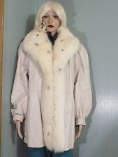 L. S. Ayres + Co. beige leather coat, spotted fox tuxedo trim, approx. L, #886