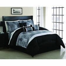 Comforter Set Bedding 7 Piece King Size Embroidered Luxurious Grey White Black