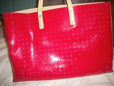 Arcadia Red Patent Leather Embossed Structured Extra Large Square Tote Bag