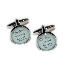 To Thine Own Self be True Shakespeare Quote Christmas Present GIFT Box CUFFLINKS