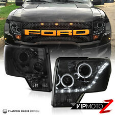 SMOKE 2009-2014 FORD F150 Dark Tinted LED Strip Halo Projector Headlights Lamps