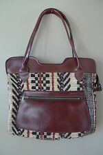 Vintage Carpet Rug Tapestry Kilim Style Shoulder Bag Tote Faux Lthr Tote Purse