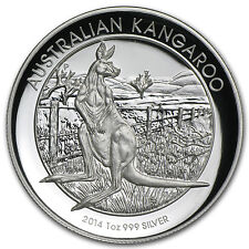2014 1 oz Proof Silver Australian High Relief Kangaroo Coin - SKU #83865