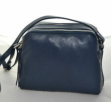 Borsa tracolla vera pelle Donna Blu Shoulder bag genuine leather Woman borse 888