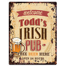 PMBP0088 TODD'S IRISH PUB Rustic tin Sign PUB Bar Man cave Decor Gift