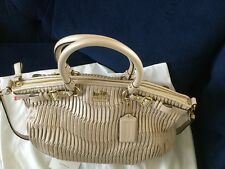 Coach Madison Gathered Leather Lindsey Satchel Purse 18643 Brass/Pearl