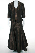 Rina di Montella Brown Silk Lace Detail Jacket Ball Gown Suit Size 12