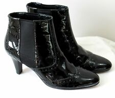 Cole Haan Genuine Black Patent Leather Heel Ankle Boot Womens 6.5B Wing Tip