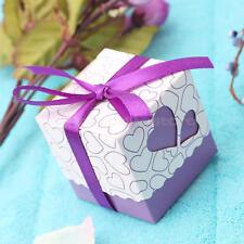 50x Scatole Bomboniera Viola Design Hollow Cuore Porta Confetti Matrimonio Feste